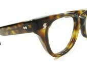 Vintage Mens Womens Brown Tortoise Hornrim Cateye Eyeglasses Eyewear Frame NOS