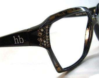 Vintage Black Camo Oversized Cateye Eyeglasses Eyewear Frame