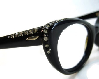 Vintage 50s Black Cateye With Rhinestone Accents Eyeglasses Eyewear Frame NOS