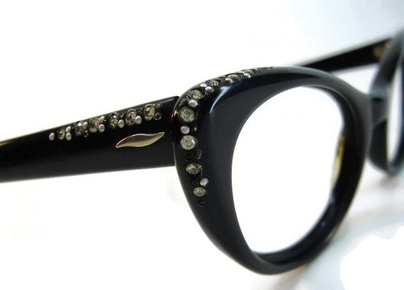 c59135a4af Vintage 50s Black Cateye With Rhinestone Accents Eyeglasses