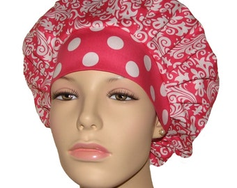 Scrub Hats - Hollywood Damask Raspberry Pink and White