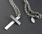 Mens Silver Cross Necklace, Mens Chain Necklace, Sterling