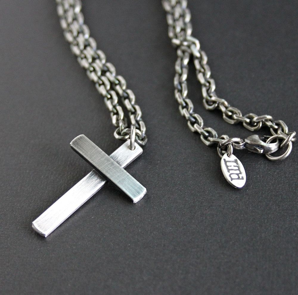 mens large silver cross necklace heavy bevel by. Black Bedroom Furniture Sets. Home Design Ideas