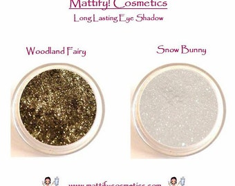 Naked Smoky Eye Shadow Makeup by Mattify Cosmetics 1 Shimmery Brown + 1 Satin White Neutral Smokey Eye Set of 2 Shadows
