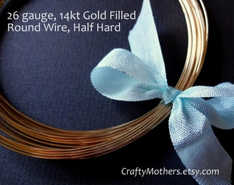 Take 15% off with 15OFF20, 26 gauge Gold Filled Wire - Round, Half HARD, 14K/20, precious metal jewelry wire - SELECT a Length