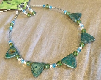 Drop Czech Glass Triangle Bead Necklace & Earring Set in Various Shades of Aqua's