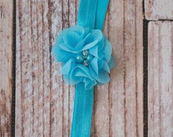 turquoise Headband blue Elastic Headband baby headband newborn photo prop wedding flower girl birthday gift flower headband teen gift