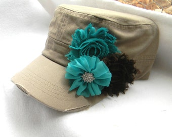 Womens flower Hat, khaki hat, distressed hat, rhinestone Hat, Cadet Cap, baseball cap, millitary hat, gift for her, womens accessories, teal