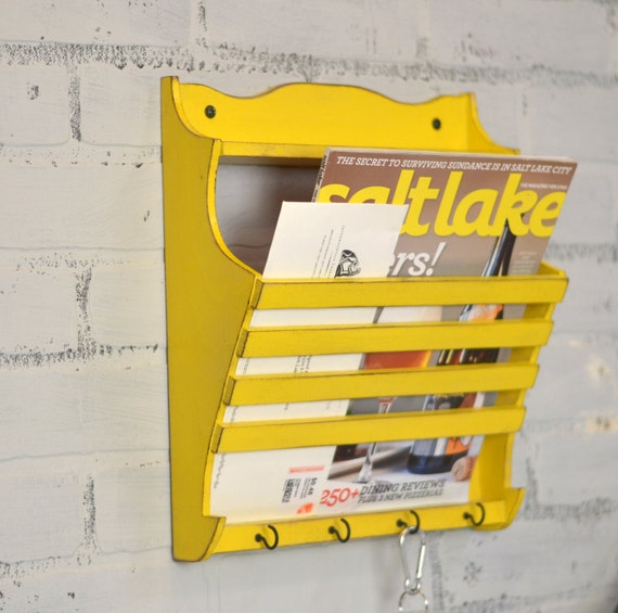 Handmade Wall Mounted Mail and Key Holder in Color OF YOUR CHOICE - Wooden Wall Unit - Mail Storage - Organizer