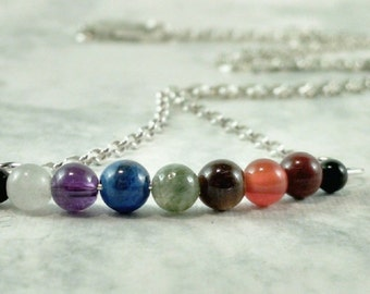 """Dainty Seven Chakra Necklace, 4mm beads, Sterling Silver Chain, 18"""", Therapeutic Gemstones"""