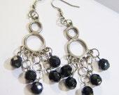 vintage black beads with silver tone hoop dangle long chandelier earrings 14IN