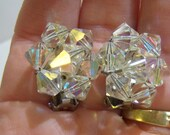 clip on earrings, vintage aurora borealis faceted beads cluster clip on earrings 14IN5A