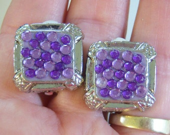 vintage purple rhinestones set in silver tone square clip on earrings 0515D