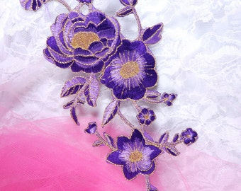 """GB158 Purple Gold Metallic Rose Embroidered Applique Iron On Patch 10"""" (GB158-purgl)"""