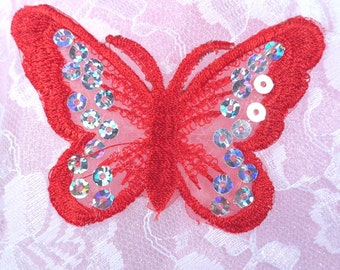 """GB167 Red Butterfly Patch Sequin Embroidered Applique 2"""" (GB167-rd)"""