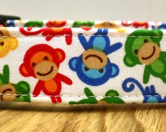 5 Little Monkeys Jumping On The Bed Red Green Yellow and Blue Monkeys on White Dog Collar