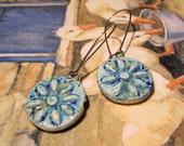 Small Ceramic FLOWER earrings glazed in Blue Caprice