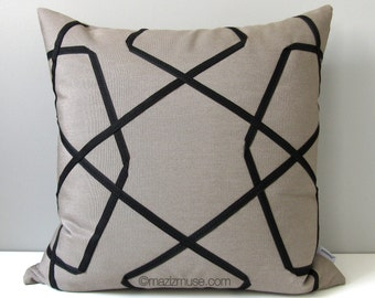 Modern Taupe & Black Outdoor Pillow Cover, Geometric Pillow Cover, Decorative Lattice Pillow Cover, Sunbrella Cushion Cover, Mazizmuse