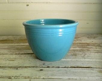 Vintage Fiesta Mixing Bowl #2, 1930s 1940s Fiesta Nesting Bowl, Farmhouse Decor, Aqua Fiesta Bowl, Aqua Kitchen Decor, Small mixing Bowl