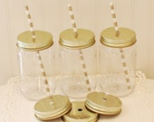 Mason Jar, 15 Plastic Mason Jars, Standard 17 Oz Jar, Mason Jars with Metal Straw Hole Lid, Mason Jar with Lid, Mason Jar Cup, Wedding Favor