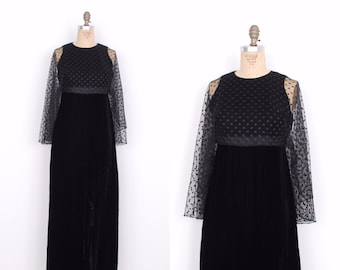 Vintage 1960s Dress / 60s Black Velvet Cape Maxi Dress / Party Dress (medium M)