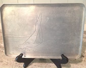 Vintage Aluminum Tray with Etched Sailboat Design