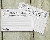 Wedding Advice and Wishes Cards, Swirl Advice & Wishes for New Mr and Mrs Cards - PRINTABLE Instant download, Marriage Advice Notecards