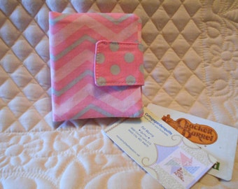 Pink and Grey Chevron / Polka Dot Rewards Card /  Business / Credit  Card / Debit  Mini Case Holder with Velcro  Closure