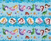 Little Mermaids Fabric by Northcott Mermaid in Stripes Stripe and Bubbles Waves Under Water Sea Life on Tonal Blue
