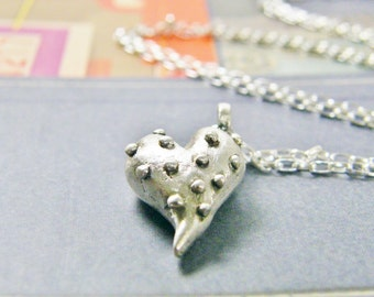 big knobby heart sterling silver necklace