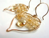 Golden Citrine Earrings - Leaf Boho 14k Gold Fill Natural Gemstone Stone Yellow Gold Sunshine Chandelier Earrings Jewelry