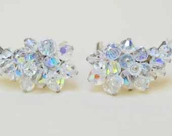 Vintage Crystal Earrings . Clips . Faceted AB Finish . Earrings