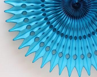 "21"" Turquoise Tissue Paper Fan, Blue Honeycomb Fan, Baby Shower Decor, Photo Backdrop"