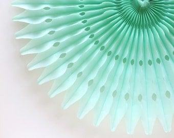 "21"" Mint Honeycomb Fan, Mint Green Paper Fan, Light Green Tissue Paper Decoration, Wedding Decor"