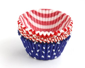 4th of July Cupcake Liners / Red, White and Blue Mix Cupcake Liners (60)