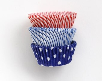 MINI Cupcake Liners - 4th of July Party - Red, White and Blue Cupcake Liners (60)