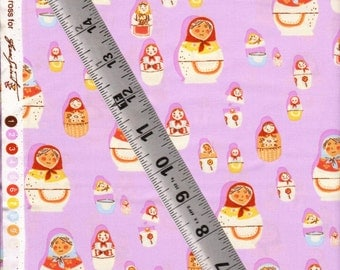 OOP Matryoshka Dolls On Lilac -- part of West Hill by Heather Ross For Free Spirit fabric -- half yard