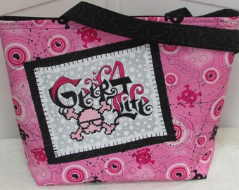 Hot Pink Funky Girl Skull Large Tote Bag  Geek For Life Purse Ready To Ship