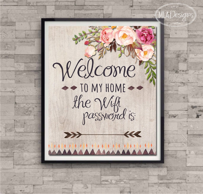 wifi password art print welcome to my home wifi print home. Black Bedroom Furniture Sets. Home Design Ideas