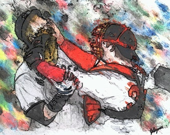 Limited Red Sox Watercolor Prints- Red Sox World Series Art