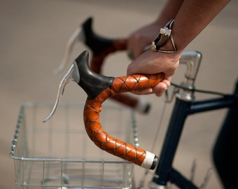 "Braided Leather Handlebar Tape - ""The Bullwhip Bar Wraps"""