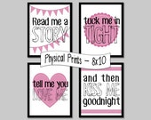 Read Me a Story, Tuck Me in Tight... set of 4 prints, pink - 8x10