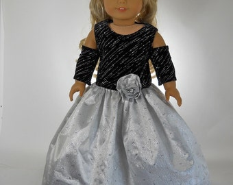 18 inch doll clothes, Black and Silver Full Length Ball Gown, 06-0302