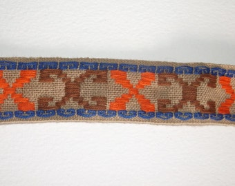 Vintage orange & brown X Embroidered Trim •  over 11 yards long X 1 1/8 inch wide