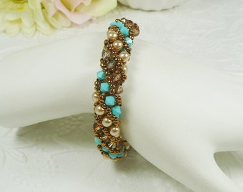 Crystal Spiral Bracelet Woven in Turquoise