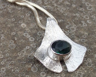 Mine free tourmaline ginkgo leaf necklace