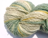 "Handspun Yarn, Hand dyed yarn, BFL Wool Yarn, ""Old Linens"" Single Ply Yarn"