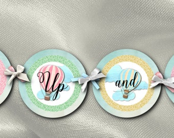 Party Decoration, Banner, Bunting, Bridal Shower, Baby Shower, Birthday, Engagement Party, Pastel Hot Air Balloons, Up Up and Away