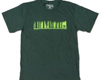 Biking Through the Trees - Mountain Biking - T-Shirt - Dark Green