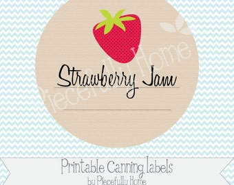 Printable Strawberry Jam Canning Jar Labels, 2 inch with extra Editable Label page